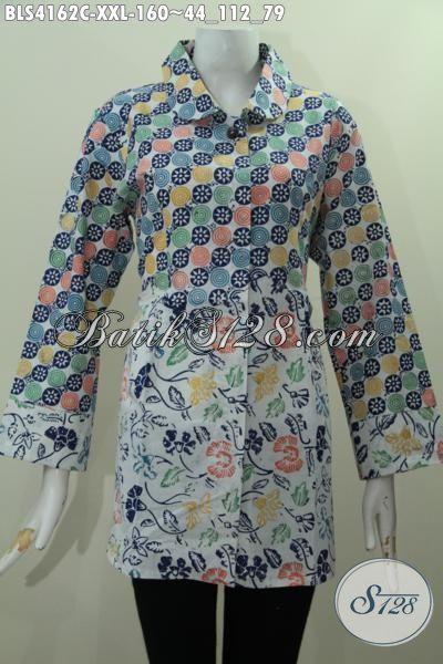 Batik Blus 3L desain Mewah Kombinasi Dua Motif, Baju Batik Jumbo Kwalitas Bagus Membuat Perempuan Gemuk Tampil Percaya Diri, Size XXL