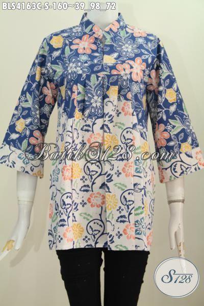 Baju Blus Istimewa Bahan Halus Desain Kerah Shanghai Tanpa Kancing ... f1be805d51
