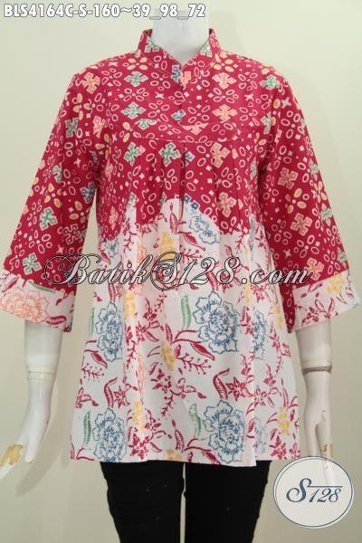 Blus Batik Merah Putig Trendy, Busana Batik Ukuran S Desain Berkelas Dengan Kerah Shanghai Tanpa Kancing Tampil Lebih Cantik, Size S