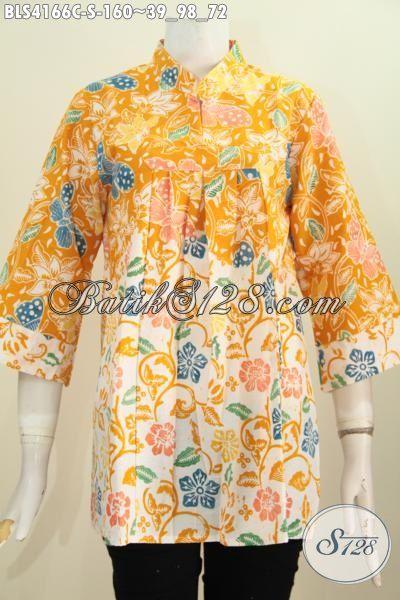 Baju Blus Size S Eksklusif Buat Wanita Muda, Pakaian Batik Kuning Dual Motif Kerah Shanghai Keren Proses Cap Tampil Makin Cantik Dan Mewah