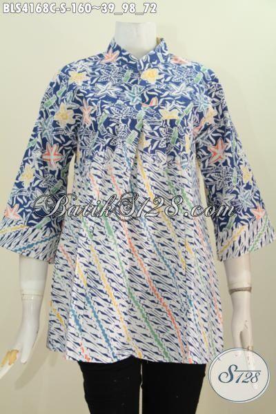 Blus Batik Jawa Halus Dual Motif, Baju Batik Kerah Shanghai Modis Size S Untuk Remaja Putri Dan Wanita Karir