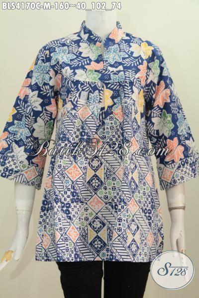 Pakaian Blus Batik Model Terbaru Yang Paling Laris, Busana Kerja Batik Kerah Shanghai Kwalitas Bagus Bahan Halus Proses Cap Pas Untuk Ke Kantor, Size M