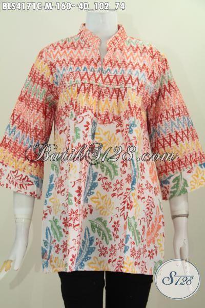 Jual Produk Baju Batik Buatan Solo Model Terkini, Busana Batik Blus Kerah Shanghai Tanpa Kancing Desain Mewah Tampil Terlihat Sesuatu Banget, Size M