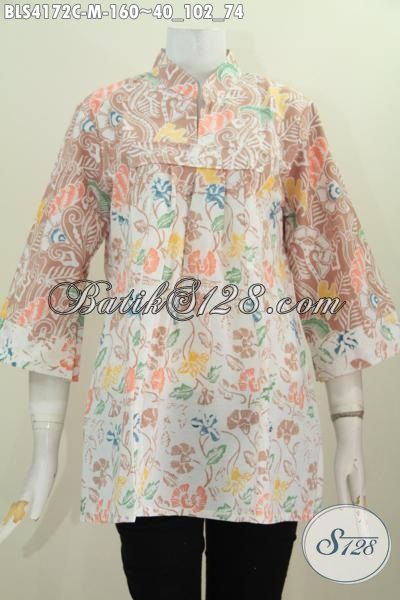 Toko Pakaian Batik Paling Up To Date, Jual Online Blus Batik Warna Pastel Berbahan Halus Motif Trendy Model Kerah Shanghai Tanpa Kancing, Size M