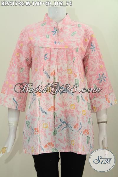 Baju Batik Feminim Warna Lembut Dan Keren, Baju Blus Batik Kerah Shanghai Motif Bunga Proses Cap, Modis Buat Ke Pesta, Size M
