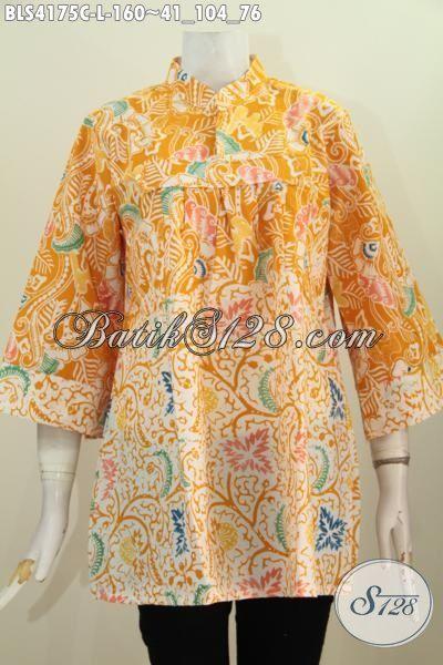 Blus Batik Modern Kerah Shanghai, Baju Batik Trendy Warna Kuning Kombinasi Putif Motif Terbaru Yang Lebih Berkelas, Batik Cap Produk Solo Size L Kwalitas Bagus