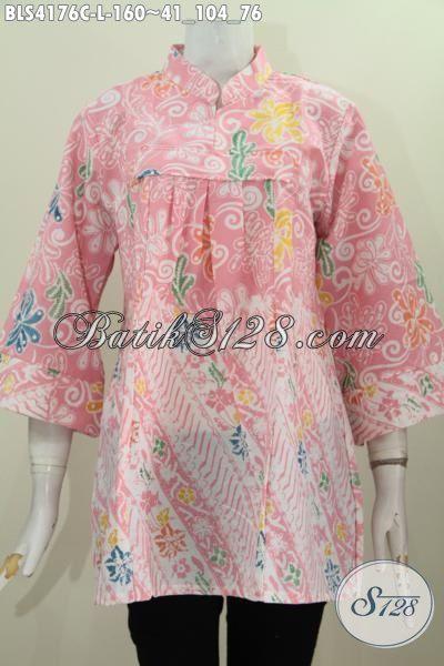 Baju Blus Modern Kerah Shanghai Tanpa Kancing, Busana Batik Modis Dual Motif Proses Cap Tampil Gaya Mempesona, Size L