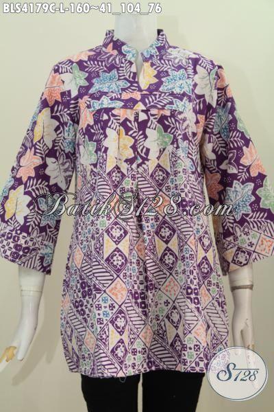 Jual Baju Batik Trendy Modis Dan Berkelas, Pakaian Batik Wanita Dewasa Ukuran L Proses Cap Motif Unik Nan Mewah, Asli Buatan Solo