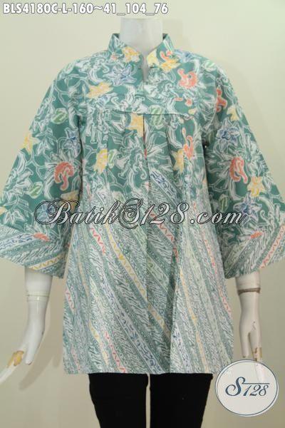Baju Batik Kerah Shanghai Tanpa Kancing Kombinasi Dua Motif, Blus Batik Hijau Mempesona Bahan Halus Proses Cap Wanita Terlihat Lebih Istimewa [BLS4180C-L]