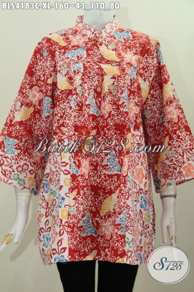 Baju Batik Jawa Tengah Terkini Model Kerah Shanghai Yang Modis Dan Keren, Baju Batik Cap Halus Dua Motif Untuk Tampil Makin Kece, Size XL
