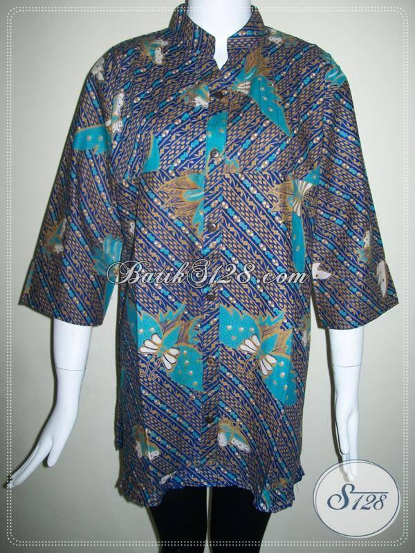 Blus Batik Wanita Warna Biru Keunguan,Baju Batik Wanita Jumbo [BLS418P-XL]