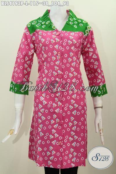 Busana Batik Perempuan Modern Model Kerah V Kombinasi ...