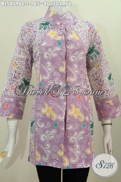 Jual Blus Batik Dua Motif Model Kerah Shanghai Kancing Dua Keren Banget, Pakaian Batik Dua Warna Proses Cap Tampil Gaya Mempesona [BLS4196C-L]