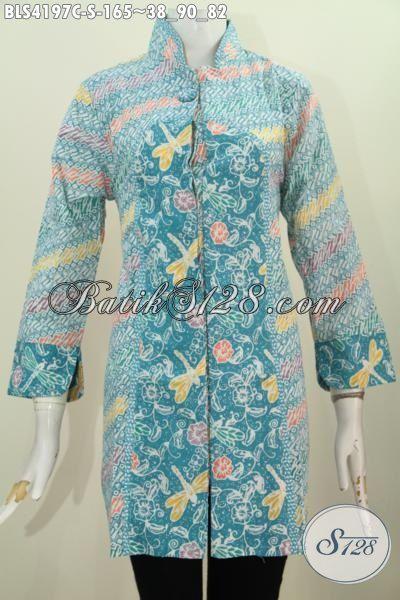 Baju Batik Kancing Satu Berpadu Kerah Shanghai Nan Modis Blus Batik