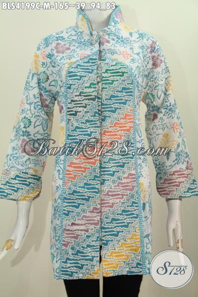 Pakaian Blus Batik Jawa Tengah Hadir Dengan Model Terkini Kerah Shanghai  Kancing 1 Motif Parang Bunga Proses Cap, Tampil Lebih Elegan, Size M