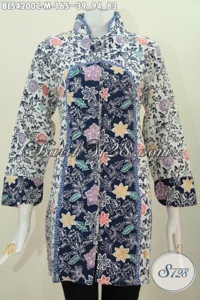 Batik Blus Trendy Kombinasi Dua Motif Berpadu Kerah Shanghai Dengan Kancing Satu, Pilihan Tepat Wanita Karir Tampil Modis Dan Cantik Maksimal [BLS4200C-M]