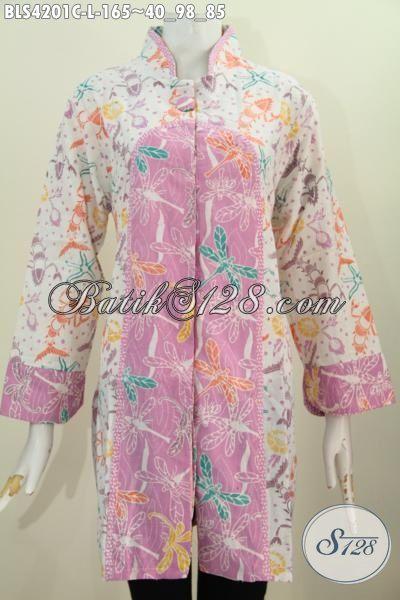 Pakaian Blus Wanita Untuk Tampil Cantik Dan Feminim, Baju Batik Blus Istimewa Kerah Shanghai Buat Kerja Dan Jalan-Jalan, Size L