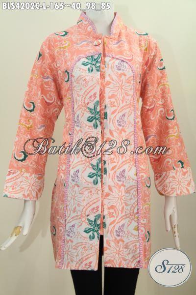 Busana Batik Orange Kombinasi Dua Motif Berdesain Kerah Shanghai Kancing 1, Baju Batik Santai Kwalitas Halus Proses Cap Tampil Makin Modis, Size L