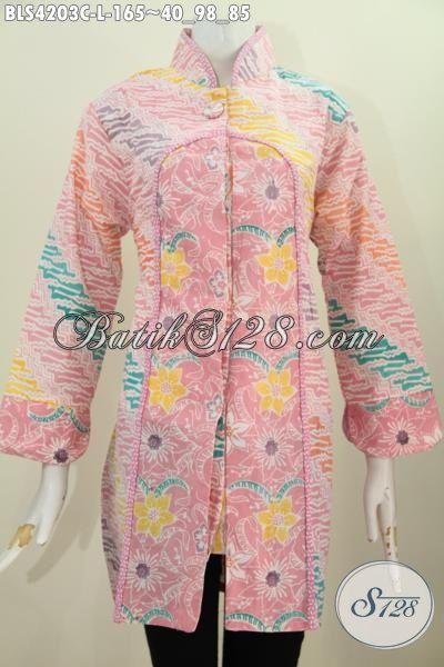 Pakaian Batik Berkelas Perpaduan Dua Motif Dengan Warna Pastel Nan Modis, Busana Batik Kerah Shanghai Ukuran L Buat Perempuan Muda Tampil Gaya