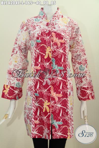 Toko Pakaian Batik Paling Up To Date, Sedia Blus Batik Cap Kerah Shanghai Kancing Satu Warna Merah Kombinasi Putih Modis Buat Ke Pesta [BLS4204C-L]