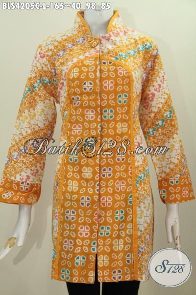 Baju Batik Berkelas Desain Mewah Bahan Batik Cap, Blus Batik Busana Istimewa Untuk Perempuan Karir Model Kerah Shanghai Satu Kancing, Size L