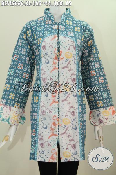 Toko Batik Dengan Desain Dan Motif Up To Date, Jual Online Blus Batik Kerah Shanghai Satu Kancing Dual Motif Proses Cap Bikin Wanita Terlihat Mempesona, Size XL