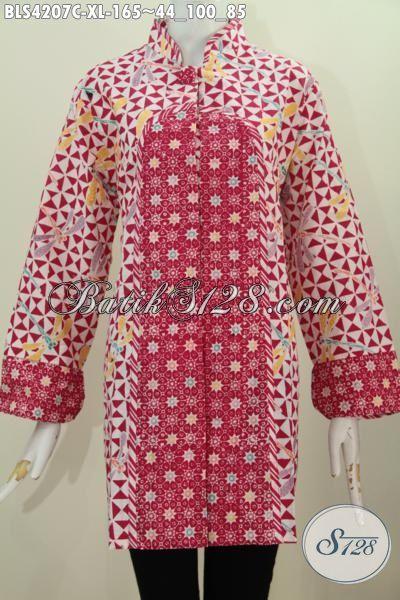 Jual Pakaian Batik Kombinasi Dua Motif, Busana Batik Elegan Warna Merah Model Kerah Shanghai Kancing Satu Spesial Buat Perempuan Dewasa, Size XL