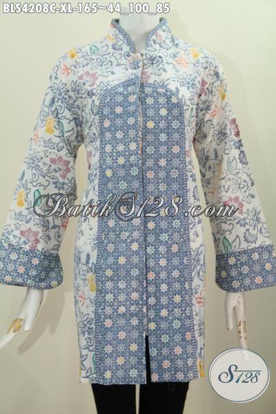 Baju Batik Kerja Lengan Tiga Perempat Model Bagus Kwalitas Halus, Pakaian Batik Wanita Dewasa Dua Motif Proses Cap Tampil Gaya Dan Istimewa, Size XL