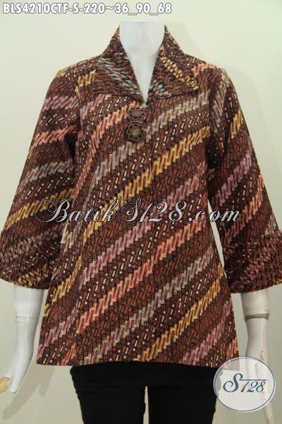 Busana Batik Istimewa Motif Klasik Proses Cap Tulis, Baju Blus Wanita Muda Dengan Daleman Full Furing Lebih Mewah Tampil Lebih Percaya Diri, Size S