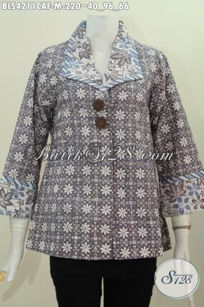 Pakaian Kerja Formal Bahan Batik Cap Pewarna Alam, Busana Batik Elegan Desain Menawan Daleman Pake Furing Lebih Nyaman Dan Mewah [BLS211CAF-M]