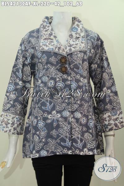 Busana Blus Seragam Kerja Bahan Batik Cap Warna Alam Model Terbaru Yang Lebih Mewah, Baju Batik Pake Furing Size XL Tampil Makin Cantik Luar Biasa