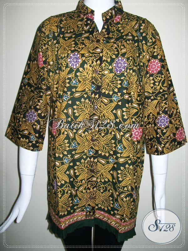 Baju Batik Wanita,Baju Batik Kantor Krah Shanghai,Batik Kantor Batik Kombinasi Tulis [BLS421CT-L]