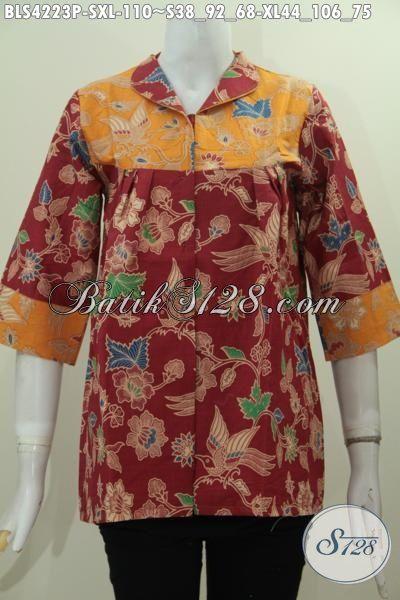 Busana Blus Dua Warna Keren, Batik Baju Trendy Merah Kombinasi Kunig Desain Berekelas, Modis Buat Jalan-Jalan Berbahan Halus Motif Terkini Proses Printing [BLS4223P-S]