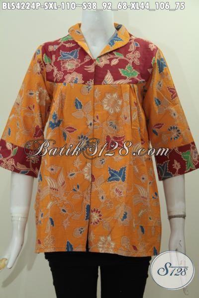 Baju Batik Blus Kuning Kombinasi Merah, Busana Batik Solo Perempuan Masa Kini Motif Bagus Proses Printing, Tampil Gaya Hany Dengan 100 Ribuan Size S – XL