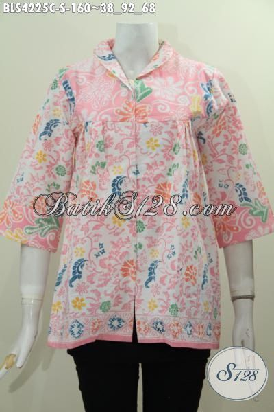 Busana Batik Kerah Langsung Warna Pastel, Baju Batik Proses Cap Motif Unik Bahan Adem Desain Istimewa Tampil Makin Gaya Dan Mempesona [BLS4225C-S]