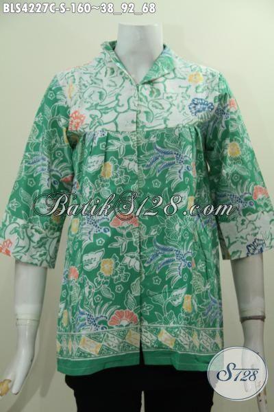 Baju Blus Hijau Motif Bunga Desain Mewah Dengan Kerah Model Langsung, Busana Kerja Wanita Karir Tampil Anggun Dan Cantik Selalu, Size S