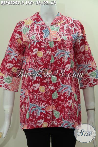 Produk Baju Batik Blus Warna Merah Nan Mewah, Busana Batik Santai Wanita Muda Size S Bahan Adem Proses Cap Asli Buatan Solo