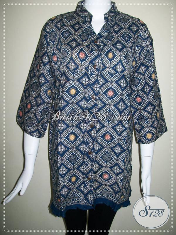 Baju Batik Wanita Elegan,Baju BAtik Wanita Kombinasi Tulis,Blus Batik Wanita Warna Biru Dongker [BLS422CT-XL]
