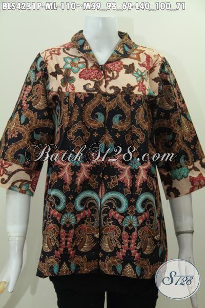 Baju Batik Elegan Model Blus Kerah Langsung Untuk Perempun Karir, Baju Kerja Batik Proses Printing Desain Berkelas Tampil Terlihat Mewah, Size M – L