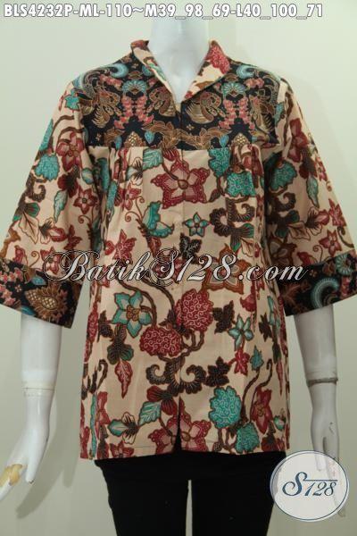 Batik Blus Proses Printing Desain Modern Dan Keren, Baju Batik Elegan Nan Mewah Model Kerah Langsung, Modis Buat Ke Kantor Dan Kondangan, Size M – L