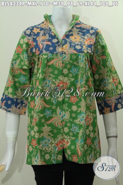 Batik Blus Perempuan Muda Dan Dewesa, Baju Batik Proses Printing Kwalitas Halus Motif Trendy Tampil Mewah Dengan Harga Murah Meriah, Size M – XL