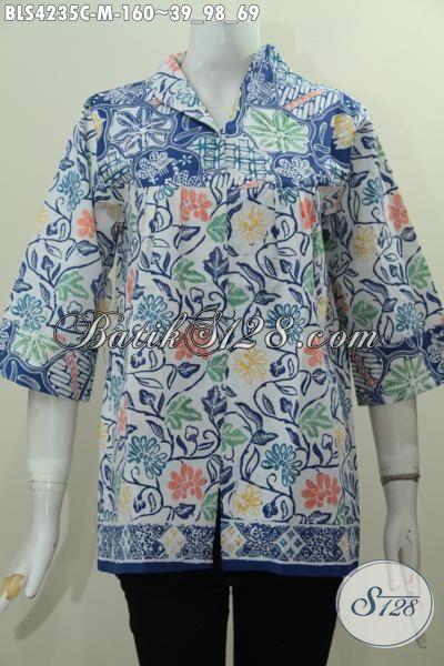 Baju Batik Desain Terkini Yang Terlihat Mewah Dan Berkelas, Pakaian Batik Modern Buatan Solo Proses Cap Yang Trendy Buat Hangouts, Size M