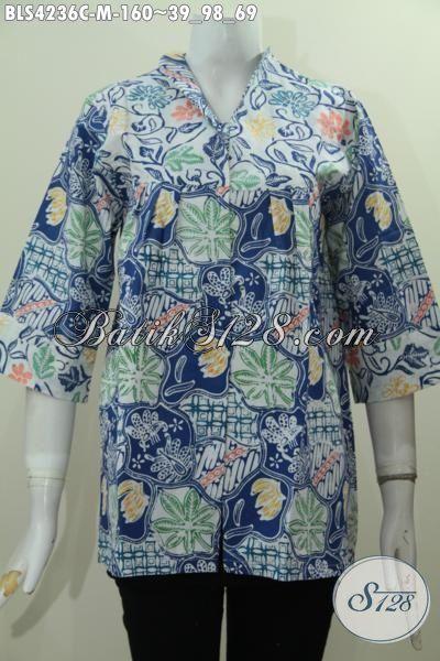 Pakiaan Kerja Wanita Karir Model Terkini, Baju Batik Fashion Produk Terbaru Dengan Desain Mewah Berpadu Motif Keren Untuk Tampil Lebih Anggun, Size M
