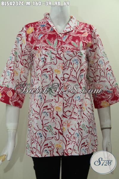 Baju Batik Dasas Putih Kombinasi Merah Berpadu Motif Unik Nan Trendy, Busana Batik Santai Istimewa Proses Cap Tampil Gaya Dan Menawan [BLS4237C-M]