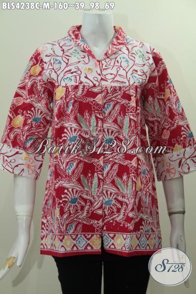 Batik Blus Size M Dengan Desain Terbaru Kerah Langsung Lebih Modis Dan Fashionable, Pakaian Batik Wanita Muda Motif Keren Proses Cap Tampil Lebih Kece