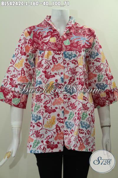 Baju Blus Batik Model Paling Baru Dengan Desain Kerah Langsung, Baju Batik Fashion Buatan Solo Motif Bagus Dan Unik Trend Mode Masa Kini [BLS4242C-L]