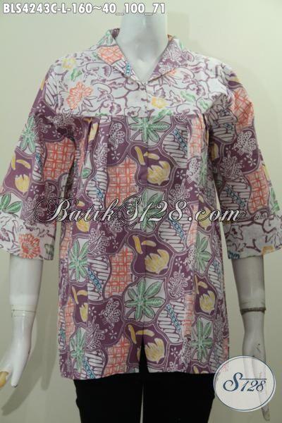 Baju Batik Modis Desain Terbaru Dengan Warna Berkelas Nan Mewah, Pakaian Batik Solo Proses Cap Seragam Kerja Wanita Karir Tampil Terlihat Beda [BLS4243C-L]