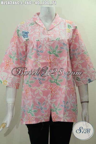 Produk Busana Batik Wanita Warna Soft, Pakaian Batik Berkelas Bahan Adem Motif Bunga Proses Cap Desain Kereh Langsung Yang Keren Dan Modern, Size L