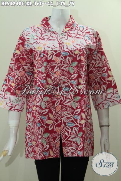 Blus Batik Kerah Langsung Warna Merah, Busana Batik Halus Proses Cap Modis Untuk Kerja Dan Acara Santai, Size XL