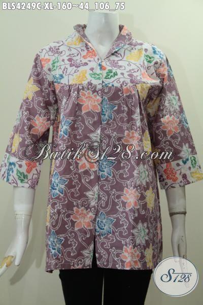 Busana Batik Elegan Warna Mewah Berpadu Motif Bunga Nan Trendy, Baju Batik Jawa Tengah Khas Solo Untuk Seragam Kerja Wanita Karir, Size XL